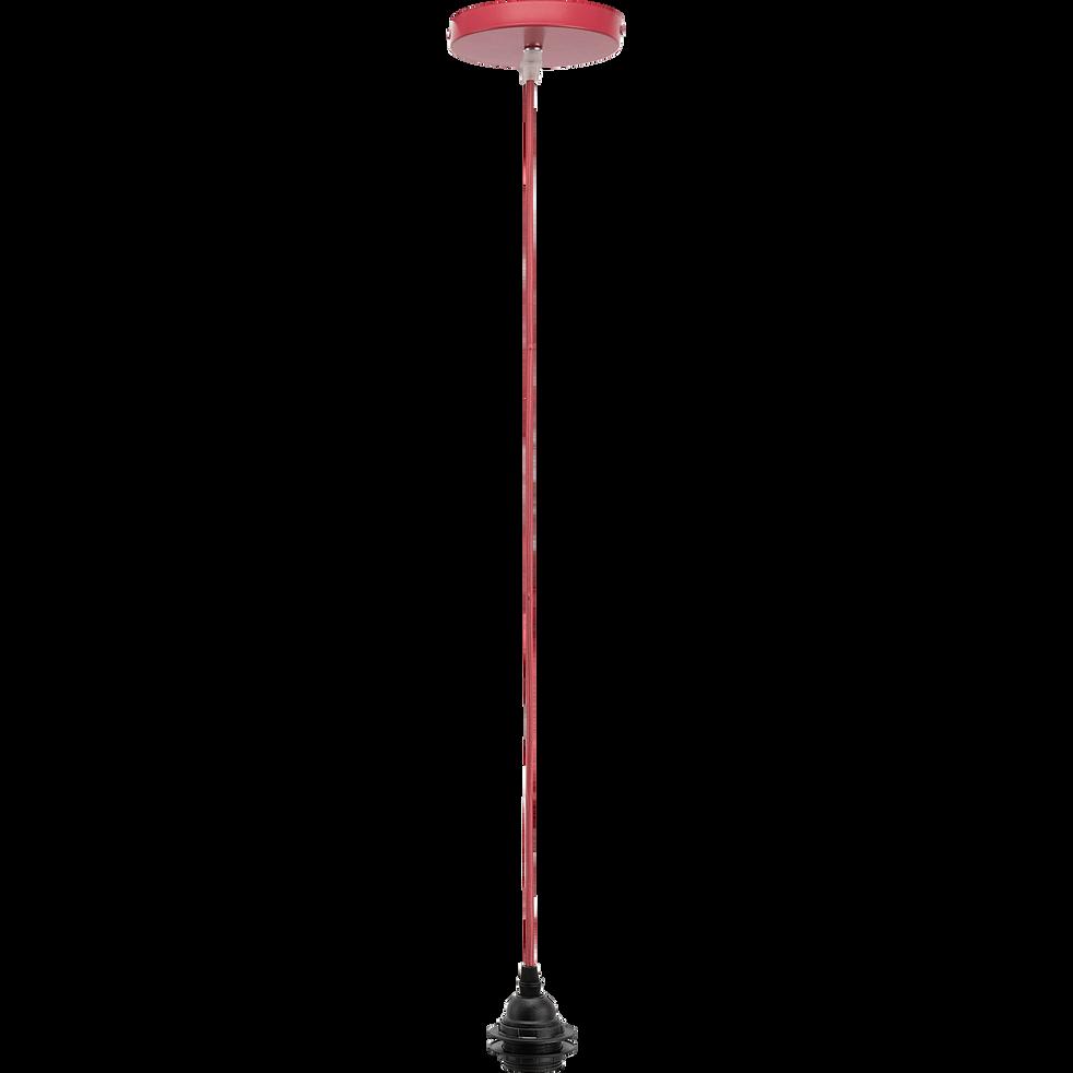 Cordon électrique en tissu rouge arbouse culot E27 L150cm-ARGUIN