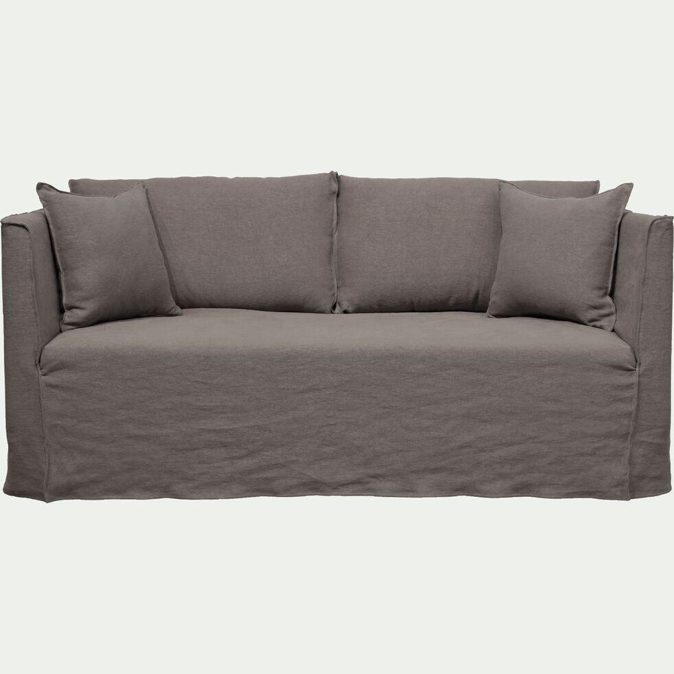 Canapé 3 places fixe en lin gris restanque-VENCE