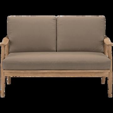 Canapé de jardin 2 places en teck - gris-Gafo