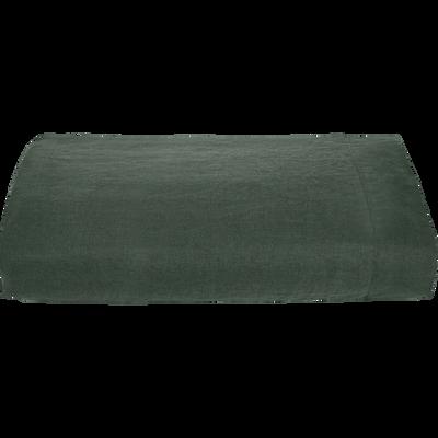 Drap plat en lin vert cèdre 270x300 cm-VENCE