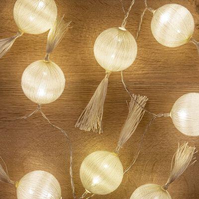 Guirlande lumineuse à pompons en coton L90cm-Risa