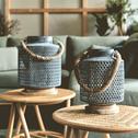 Bout de canapé rond en rotin-RONFINO