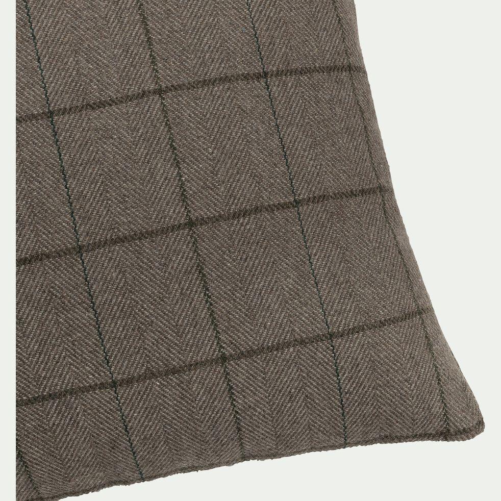 Coussin à carreaux en laine - marron 40x40cm-GERMAIN