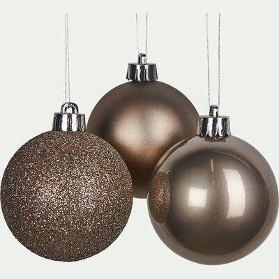 10 boules en plastique marron D6cm-BAUS