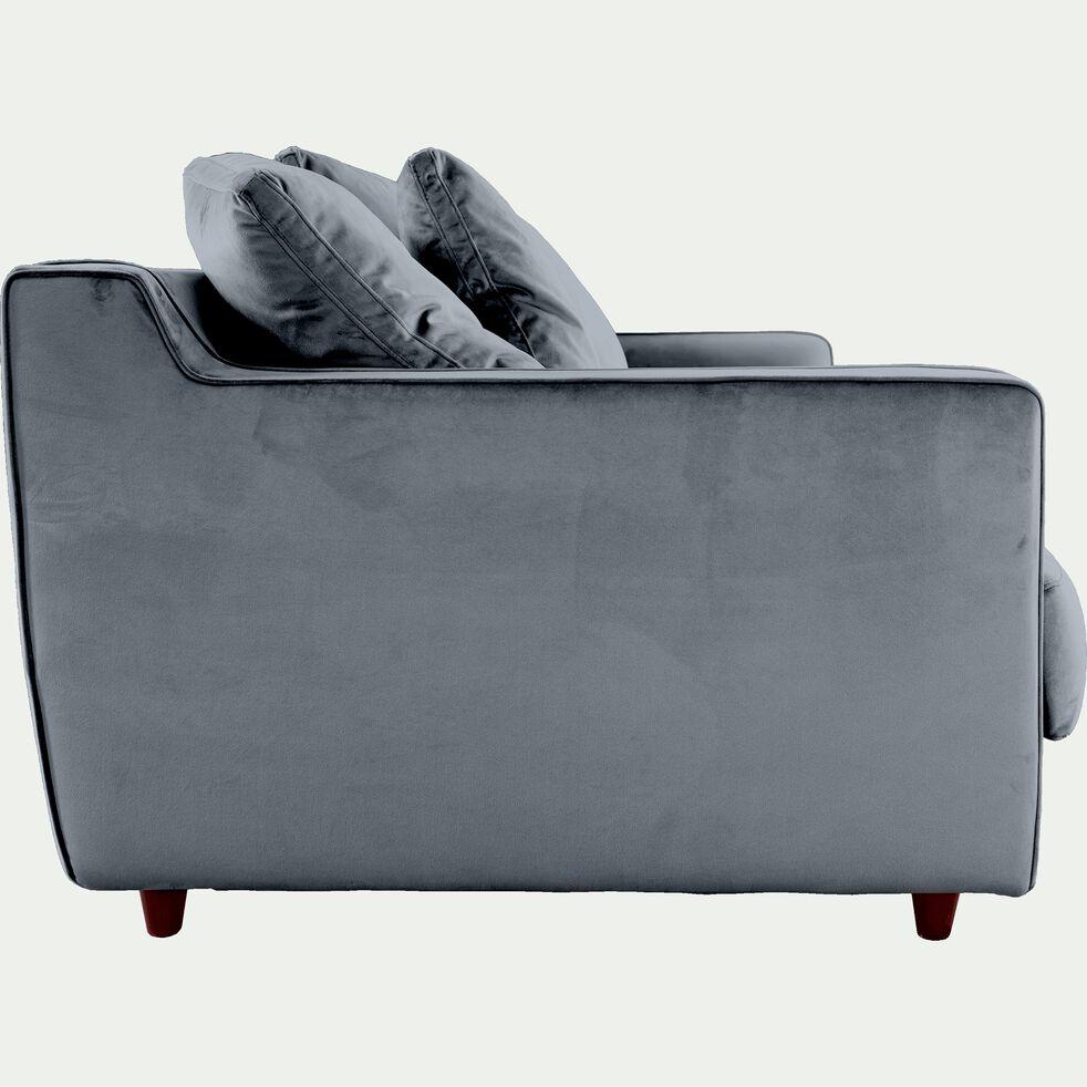 Canapé 3 places fixe en velours - gris restanque-LENITA