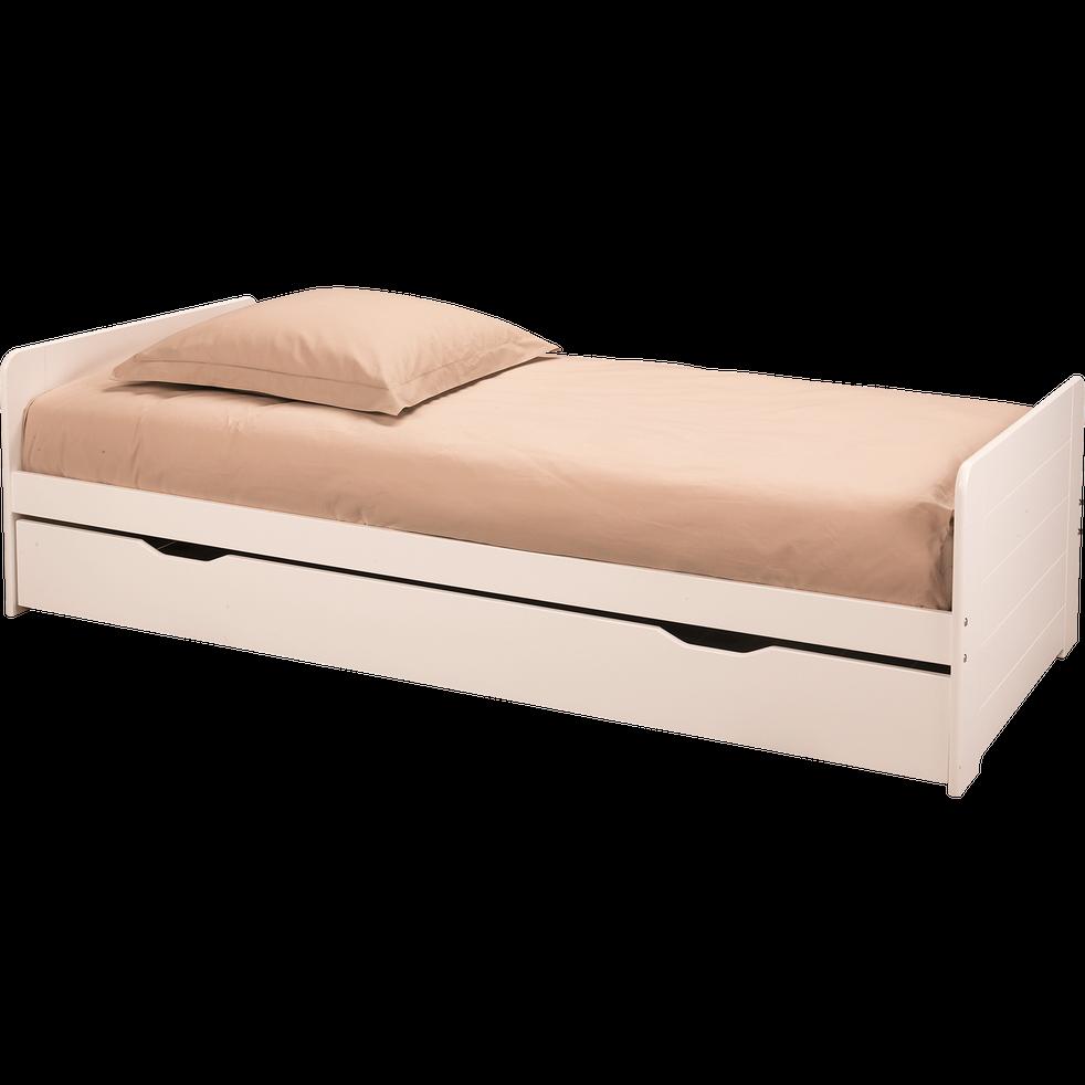 lit 1 place gigogne blanc 90x200 cm andys 90x200 cm. Black Bedroom Furniture Sets. Home Design Ideas