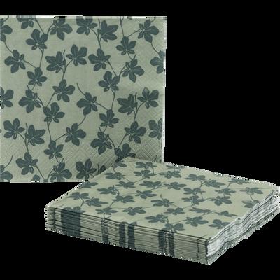 Lot de 20 serviettes en papier vert olivier décoré 33x33cm-SAZE