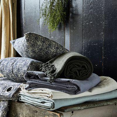 Plaid tissé en coton blanc ventoux 230x250cm-BELCODENE