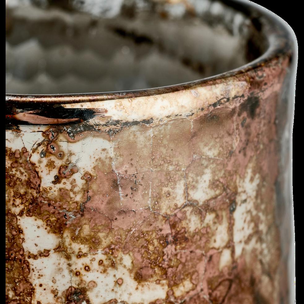 Photophore en verre cuivré D8xH9 cm-KAPPA