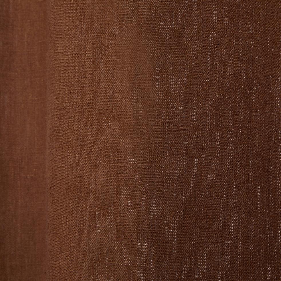Rideau à oeillets en lin lavé brun albe 140x280cm-VENCE