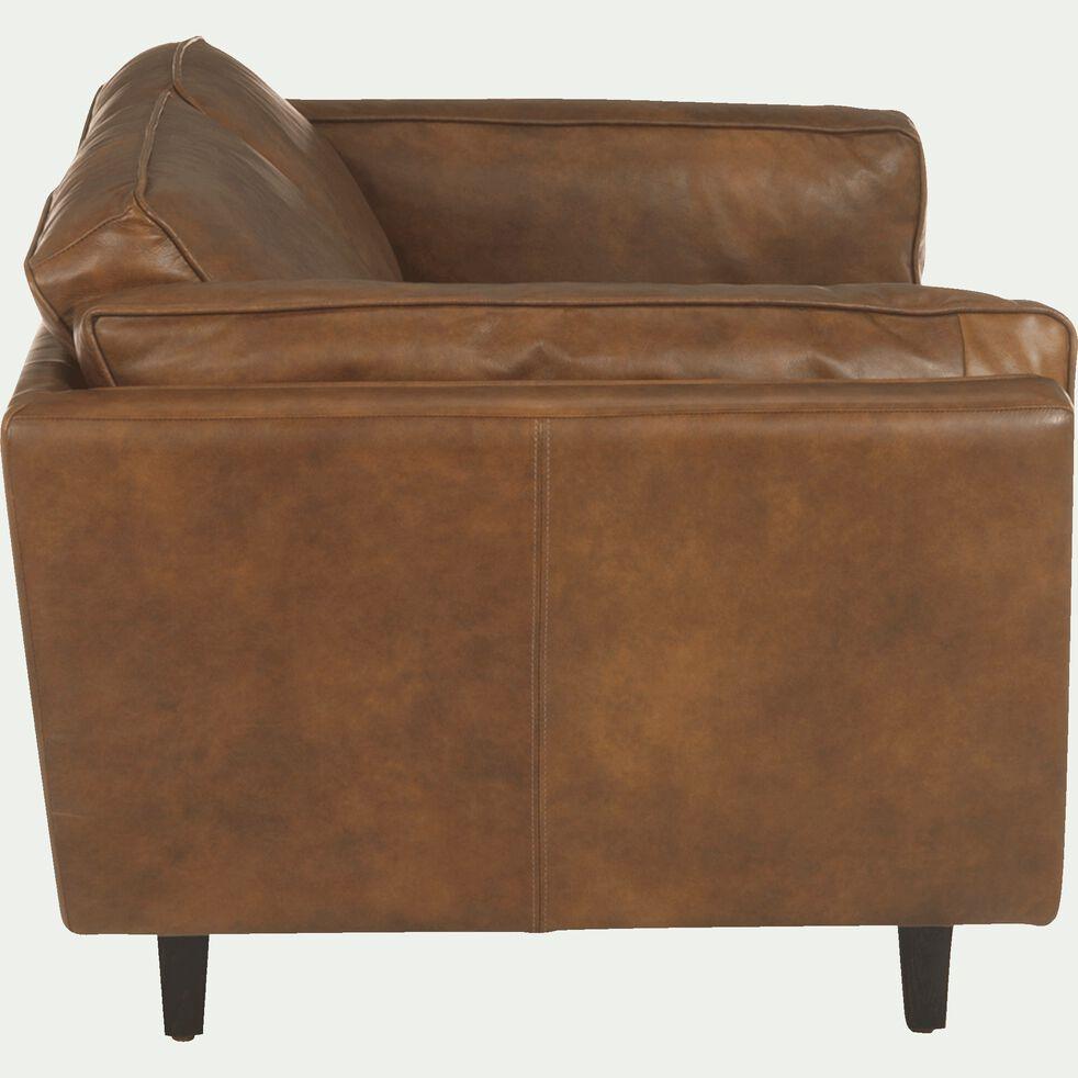 Canapé 2 places fixe en cuir de vachette - marron-Brooklyn