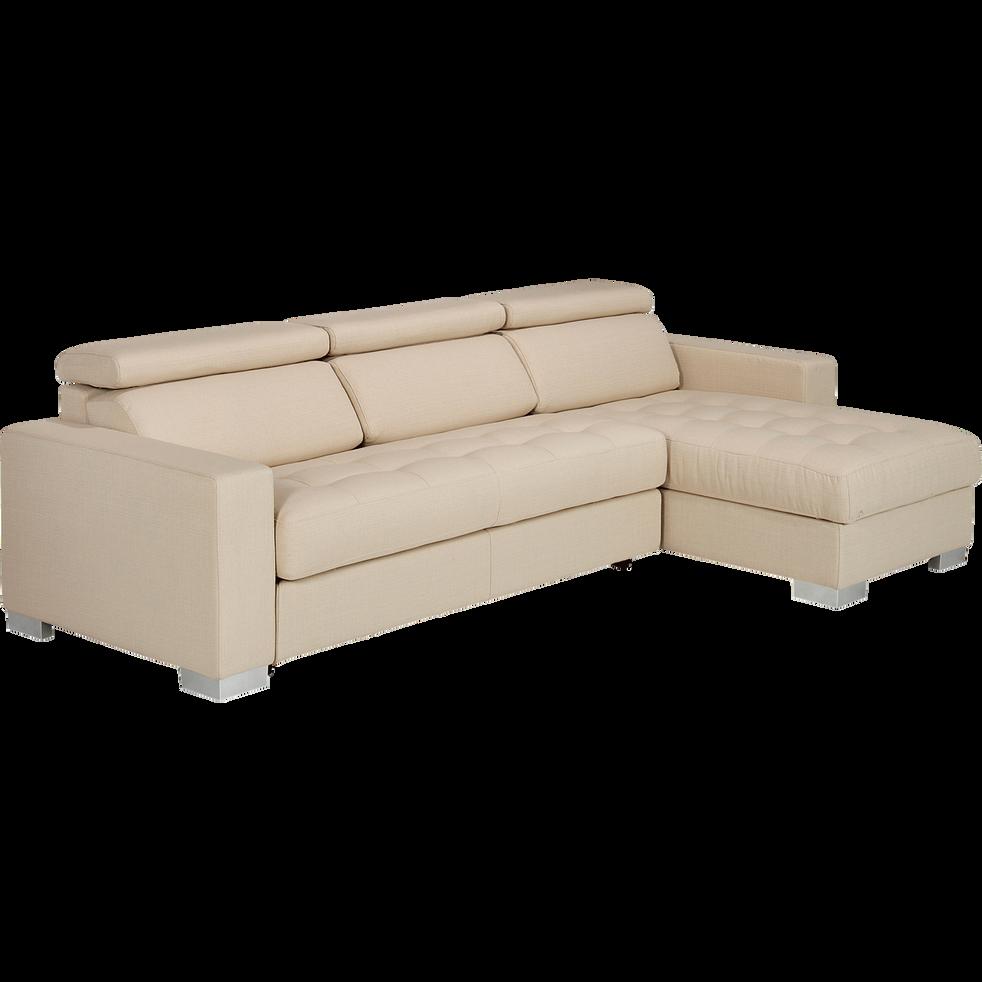 Canapé d'angle réversible en tissu beige-Mauro