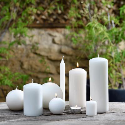 8 bougies flambeaux blanc nougat H18cm-HALBA