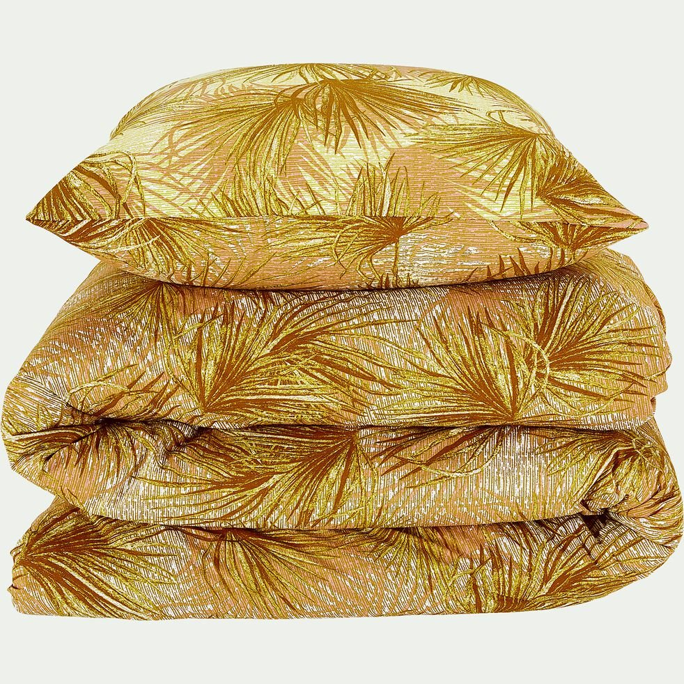 Housse de couette et 2 taies d'oreiller en coton - jaune 260x240cm-DOUM