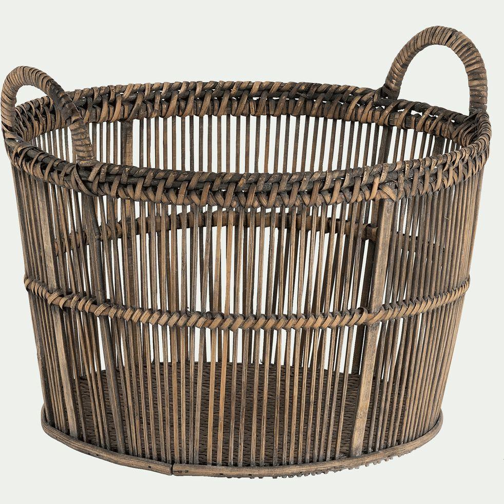 Panier en bambou tressé - naturel H40xL36cm-RODRIGO