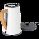 Bouilloire électrique blanc ventoux avec poignée en bois-CAUFA