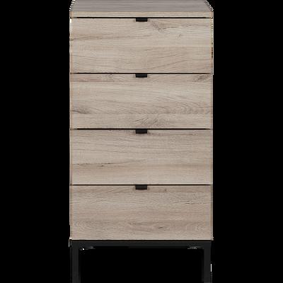 Chiffonnier 4 tiroirs Bois clair et pieds en métal noir-CASTEL