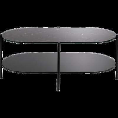 Table basse ovale en verre effet marbre noir-GUIERO