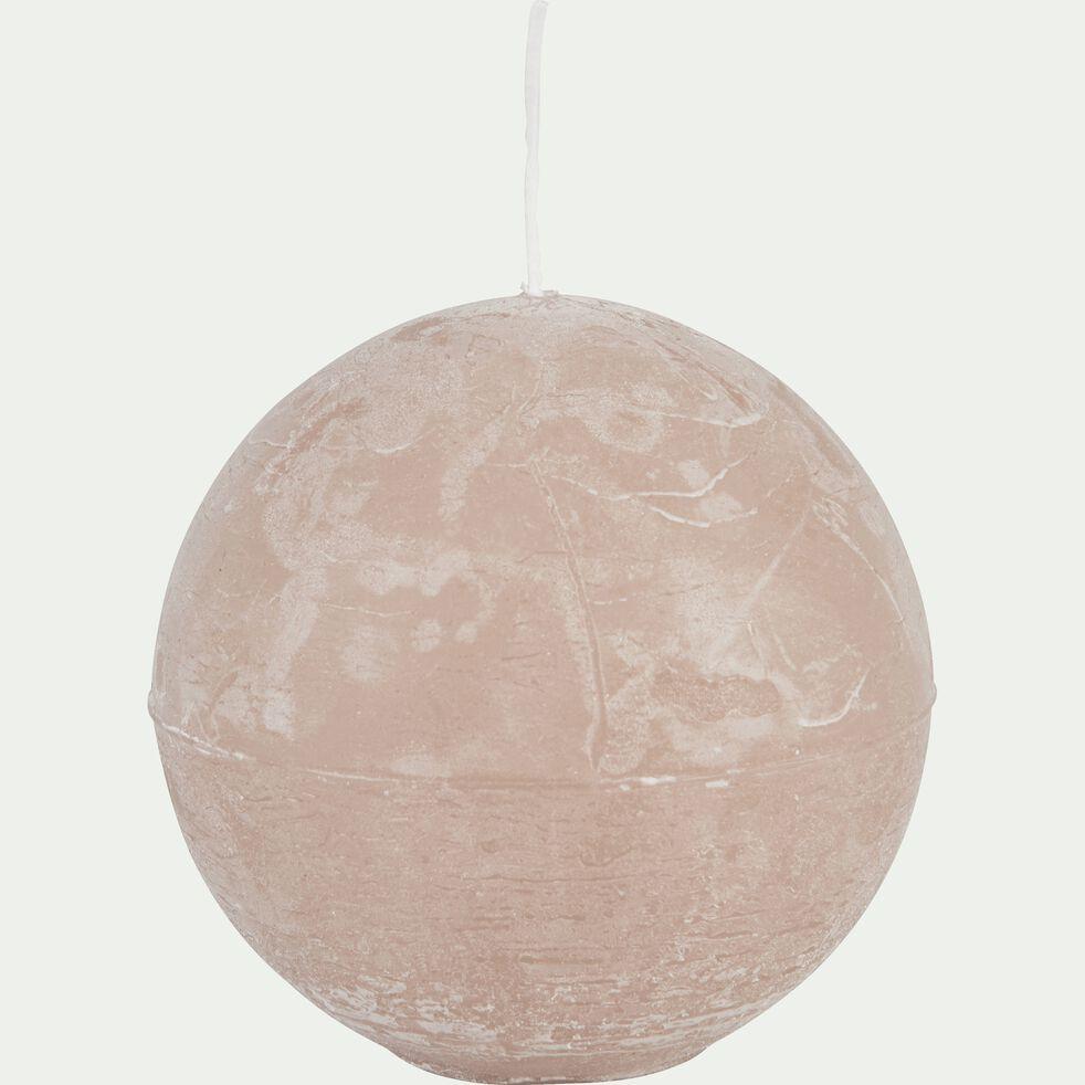 Bougie ronde rose grège D10cm-BEJAIA