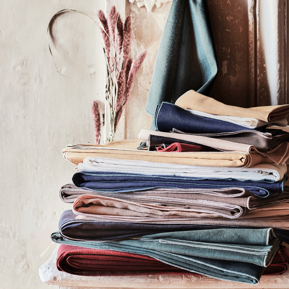 Lot de 2 serviettes en lin et coton vert cèdre 41x41cm-MILA