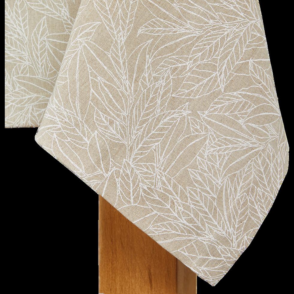 Nappe en lin et coton coloris naturel motifs laurier 170X250cm-ST REMY