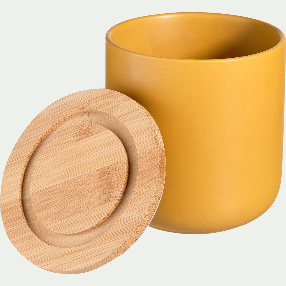 Pot en porcelaine jaune avec couvercle en bambou D10xH11 cm-JAN