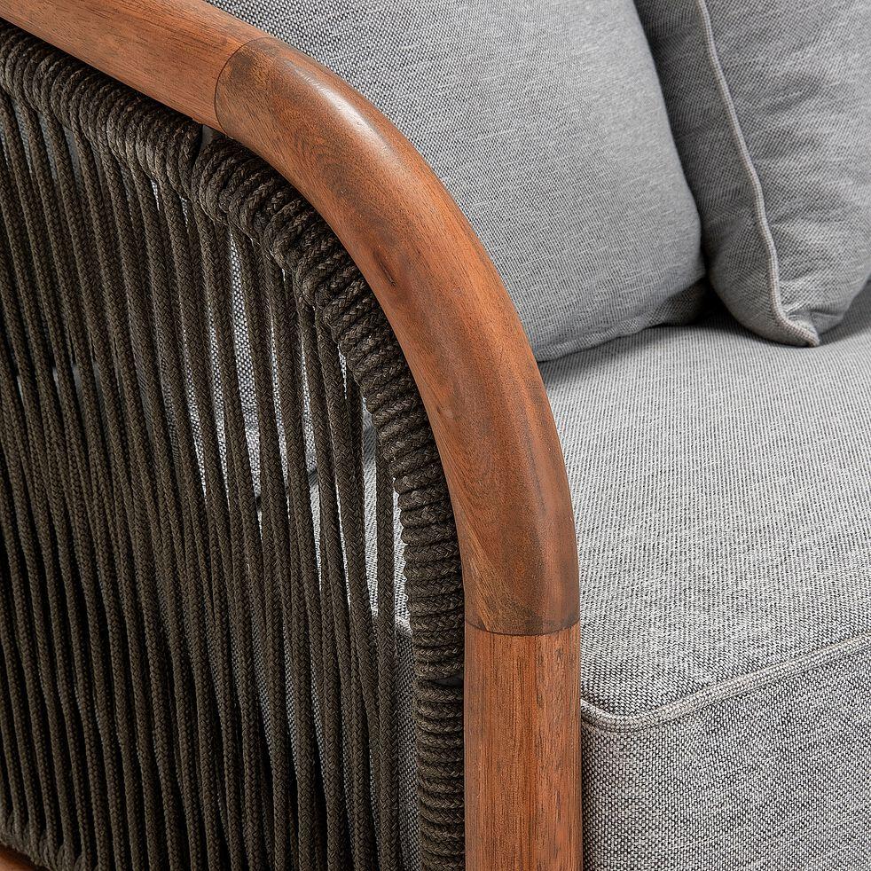 Fauteuil de jardin en eucalyptus effet teck avec accoudoirs-NANS