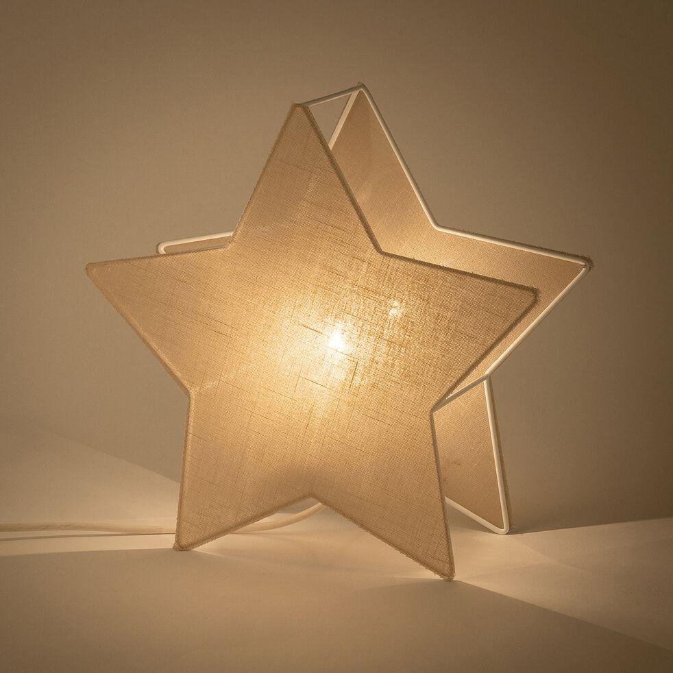 Lampe à poser forme étoile l30cm - blanc-Stella