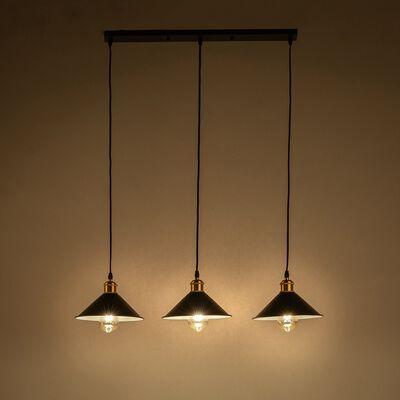 Suspension en métal 3 lampes L80xH100cm - noir-GIULIAN