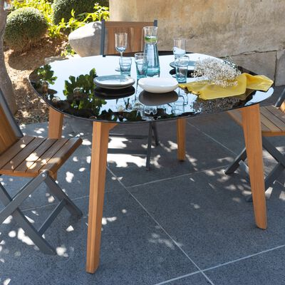 Table fixe carrée avec plateau en verre fumé 4 personnes - L120xl120xH75cm-ZEPPLIN