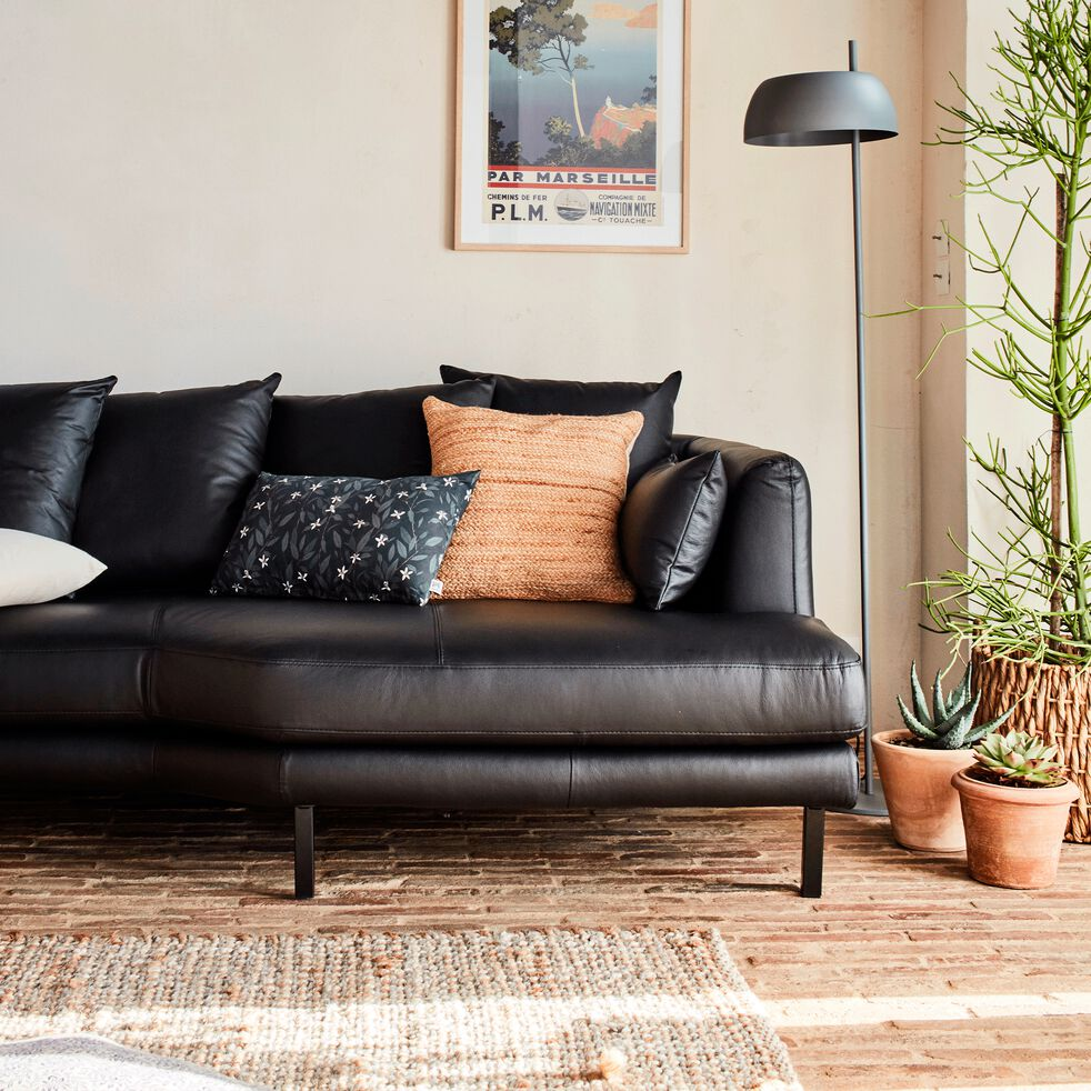 Canapé 3 places fixe droit en cuir - noir calabrun-TESSOUN