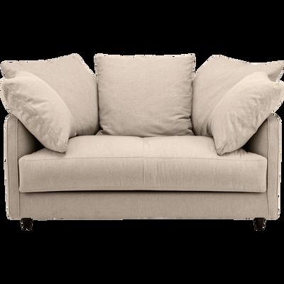 canapé 2 places fixe en tissu beige roucas-LENITA