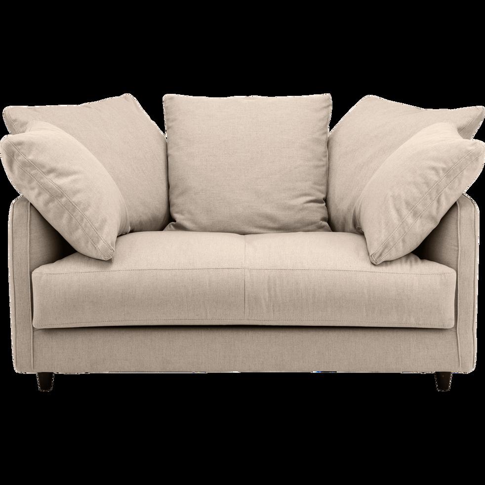 canap 2 places fixe en tissu beige roucas lenita. Black Bedroom Furniture Sets. Home Design Ideas
