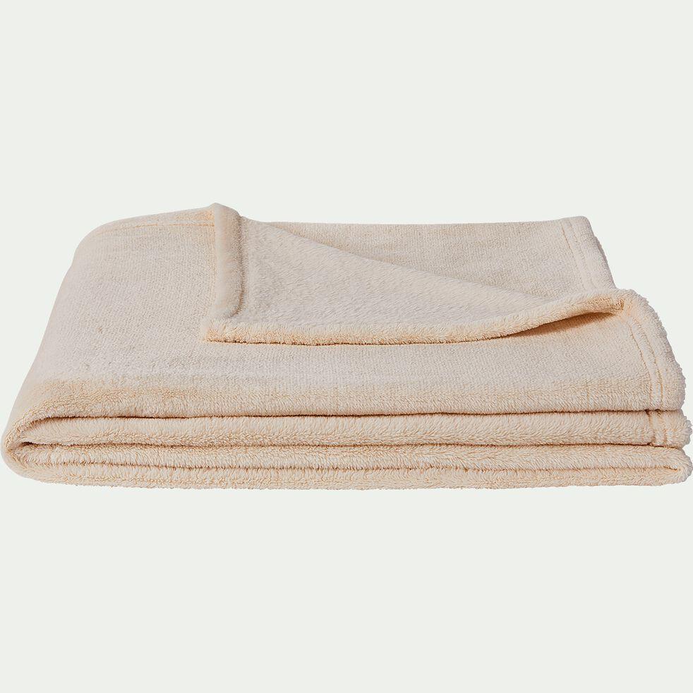 Plaid effet polaire en polyester - beige roucas 130x170cm-ROBIN