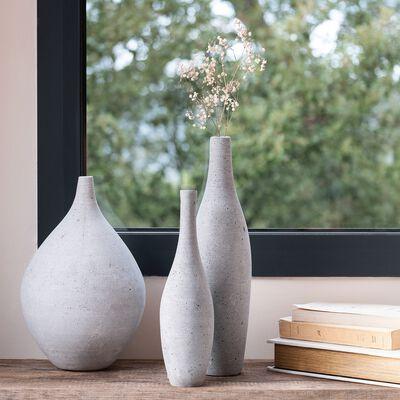 Vase effet béton en polystone - gris H37cm-CALCIS