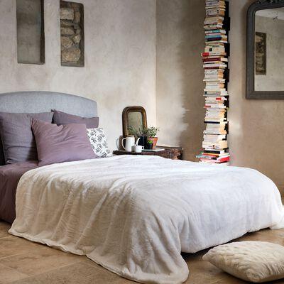 Couvre lit imitation fourrure - blanc ventoux 180x220cm-MARIUS