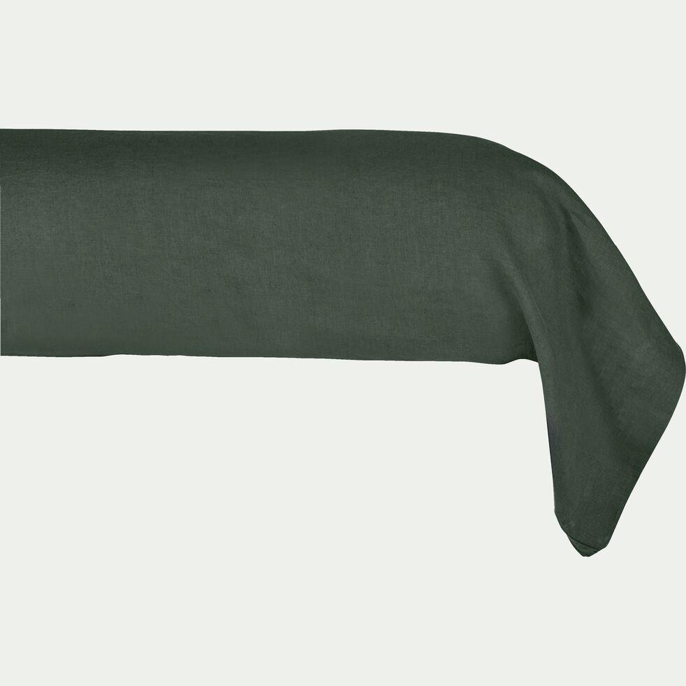 Taie de traversin en lin - vert cèdre 45x190cm-VENCE