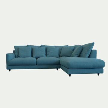 Canapé d'angle droit fixe en tissu joint - bleu niolon-LENITA