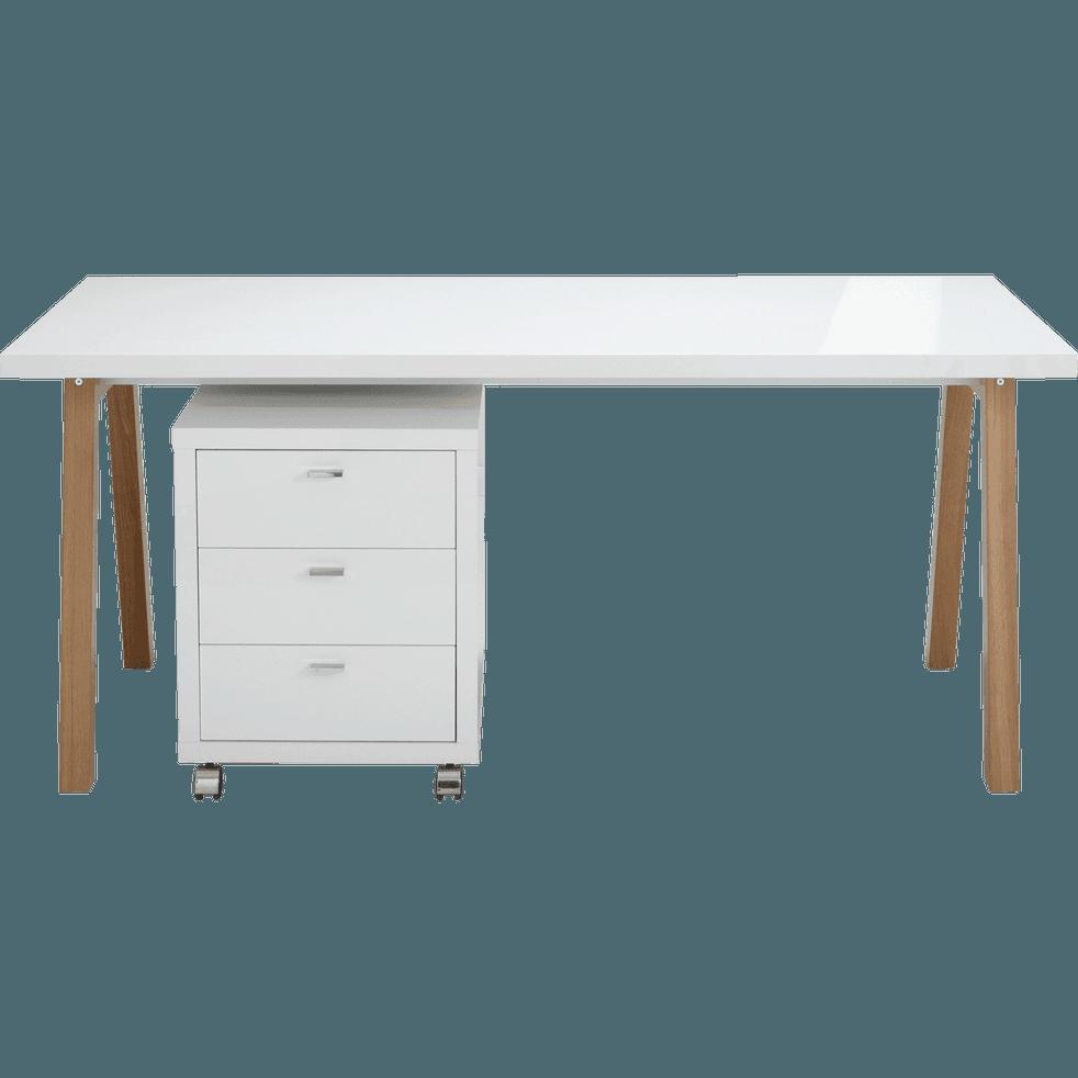 bureau avec pi tement en bois massif blanc l150cm oslo bureaux alinea. Black Bedroom Furniture Sets. Home Design Ideas