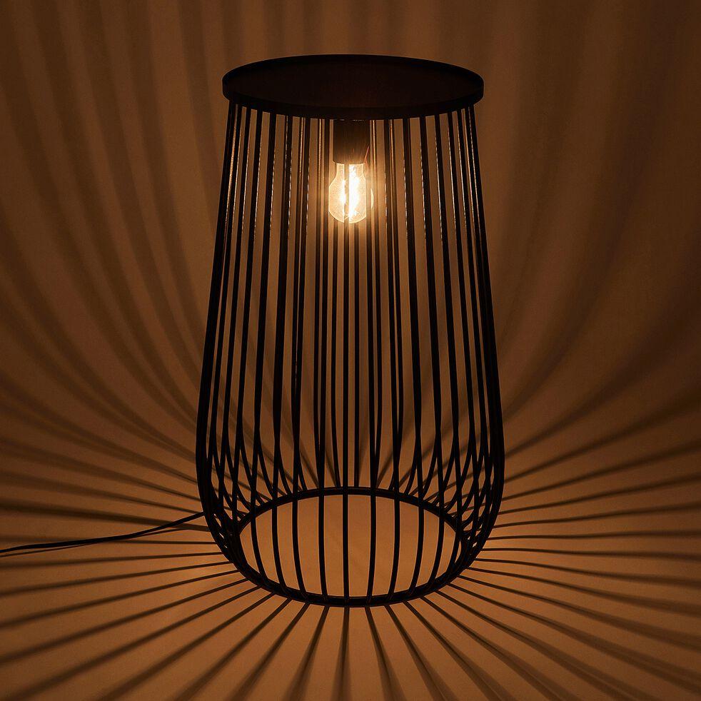 SINO - Lampe de sol en métal noir H10,10xD10cm