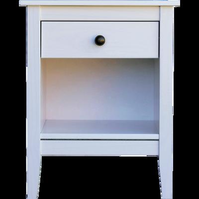 Table de chevet en pin massif Blanc 1 tiroir et 1 niche-LISON