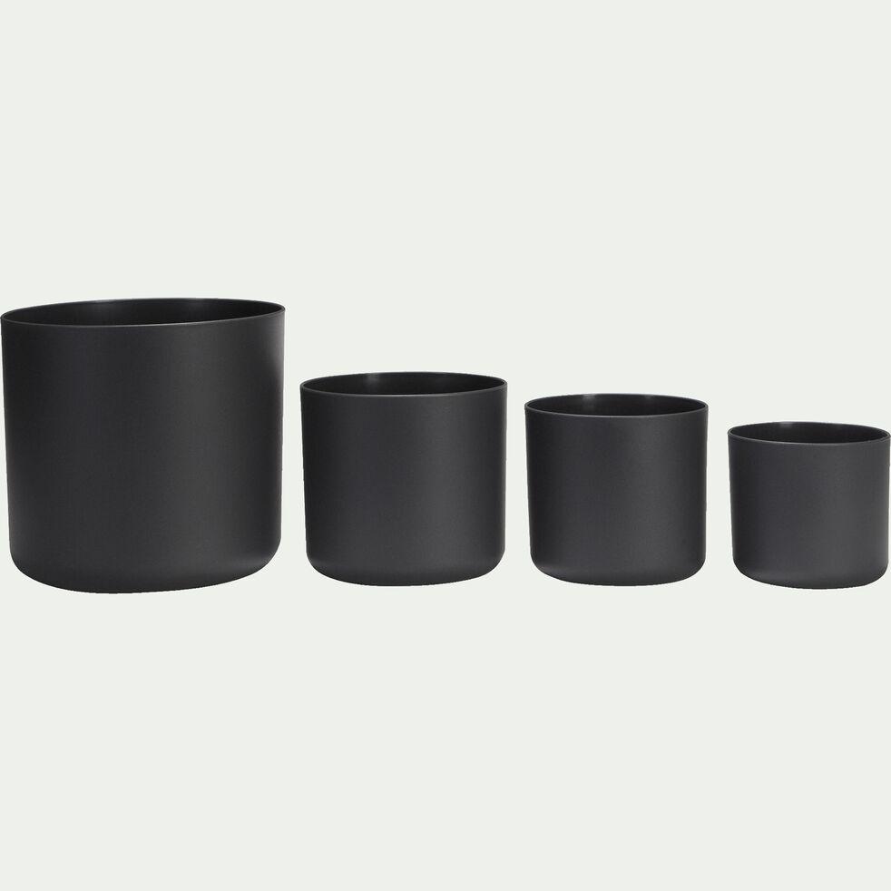 Cache-pot gris anthracite en plastique H15xD16cm-B FOR