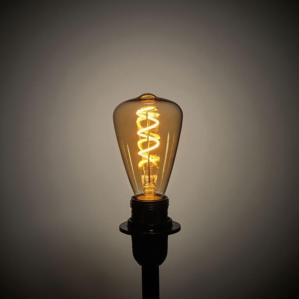 Ampoule décà LED à filament blanc chaud - teintée ambre H9,80cm-SPIRALE