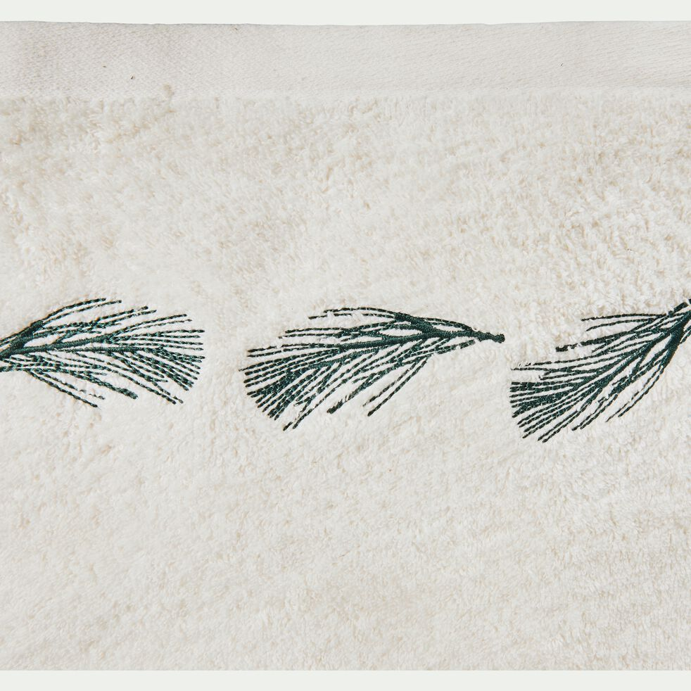 Serviette invité brodée en coton bouclette - blanc ventoux 30x50cm-AMBIN