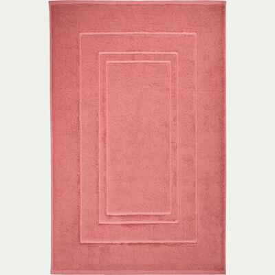 Tapis de bain en coton peigné - rouge ricin 50x80cm-AZUR