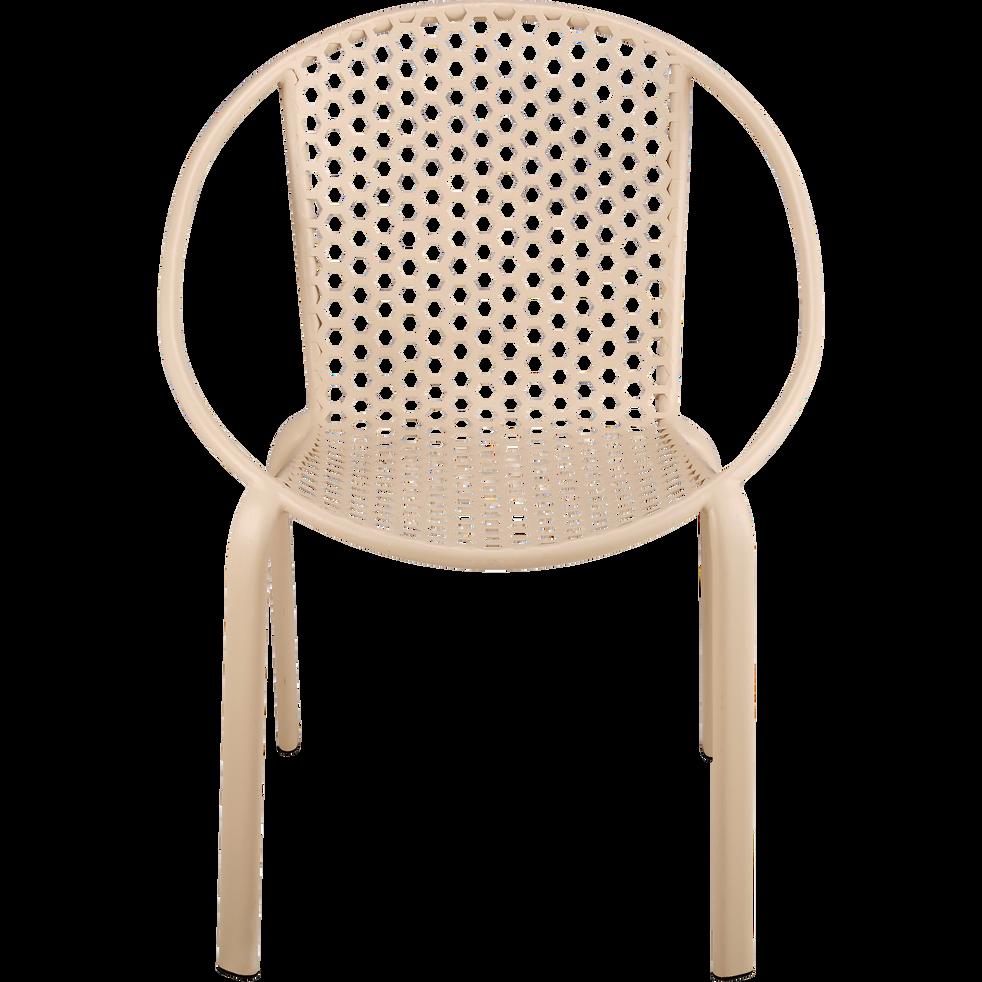 Fauteuil de jardin empilable en acier beige roucas-CLEMENCE
