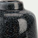 Vase en céramique noir tacheté bleu H9 cm-OASIS