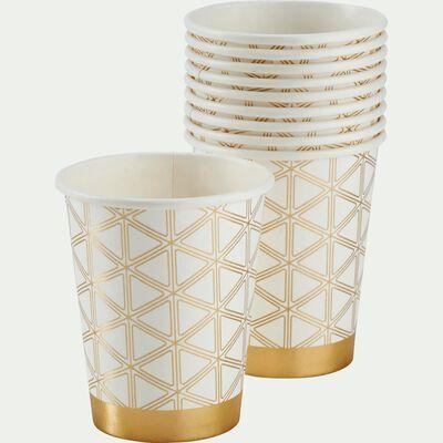 Lot de 10 verres en carton blanc décoré 25cl-LULLY