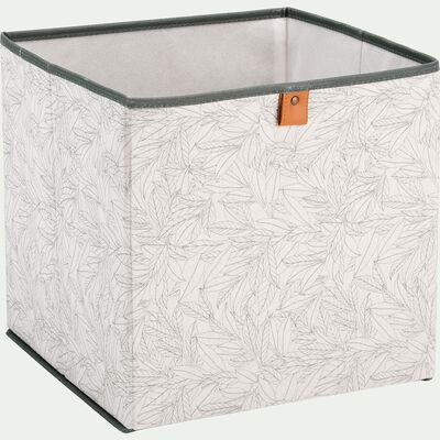 Panier à linge en lin motif laurier - blanc 30x30cm-ERRO