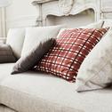 Coussin en coton motif tartan rouge 45x45cm-LUCO